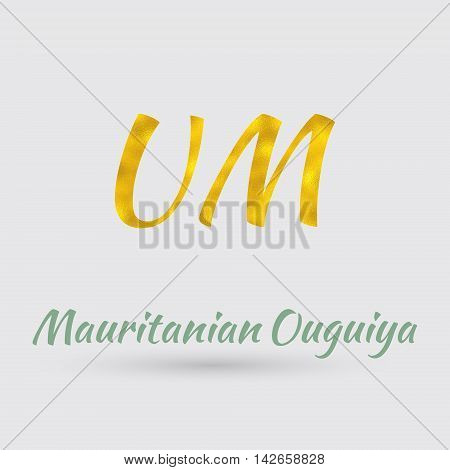 Symbol of the Ouguiya Currency with Golden Texture. Text with the Mauritania Currency Name.Vector EPS 10