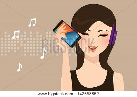 female listening to music streaming online with smart phone wearing head set wire less vector