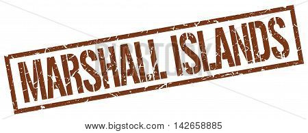 Marshall Islands stamp. brown grunge square isolated sign