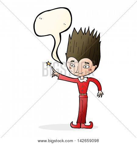 cartoon magic christmas elf with speech bubble