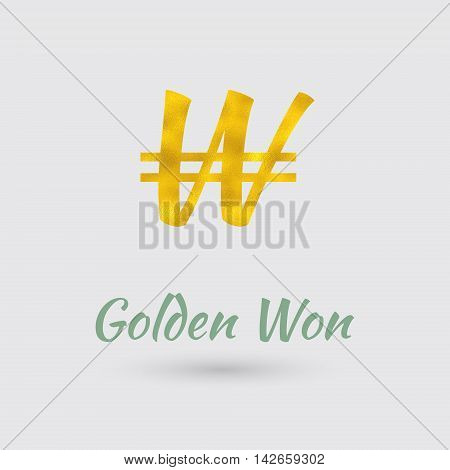 Symbol of the South Korean Won Currency with Golden Texture. Text with the South Korea Currency Name.Vector EPS 10