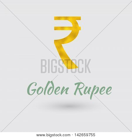 Symbol of the Rupee Currency with Golden Texture.Vector EPS 10