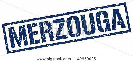 Merzouga stamp. blue grunge square isolated sign