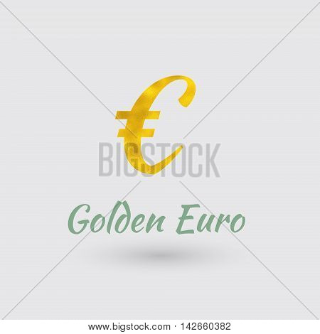 Symbol of the Euro Currency with Golden Texture. Text with the Currency Name. Vector EPS 10