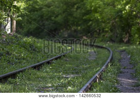 Railway track in dark the forest .