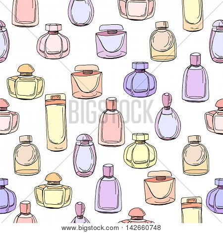 Seamless pattern with different bottles of woman perfume. Contour, colorful. Endless texture for fashion design,wrappings,fabrics.