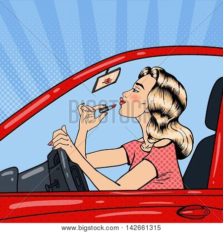 Pretty Blonde Woman Applying Lipstick While Driving a Car. Pop Art Vector illustration