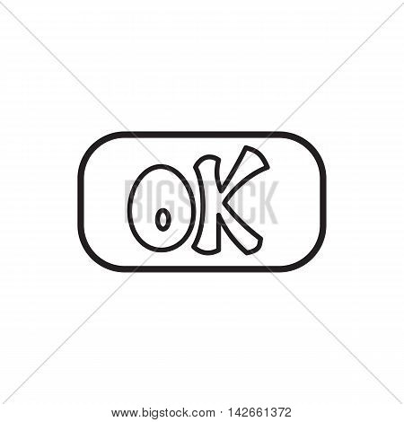 Sign ok icon in outline style isolated on white background. Click and choice symbol