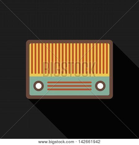 Retro vintage radio flat design isolated icon vector illustration