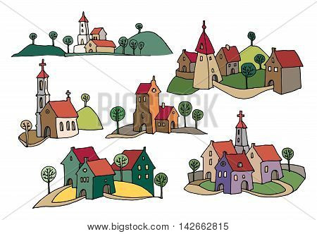 Hand drawn houses or rural landscape, color version, vector