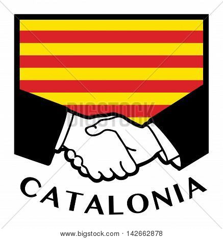 Catalonia flag and business handshake, vector illustration
