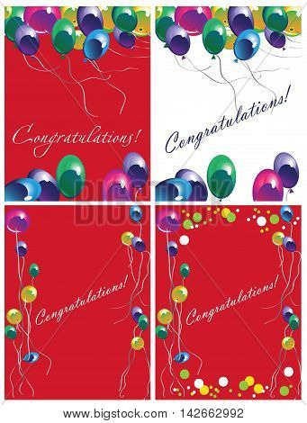 illustration greeting card with lettering Congratulations and balloons red and white background