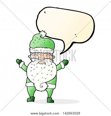 cartoon grumpy santa with speech bubble