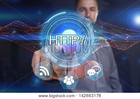 Business, Technology, Internet And Network Concept. Young Business Man Chooses The Virtual Screen: H