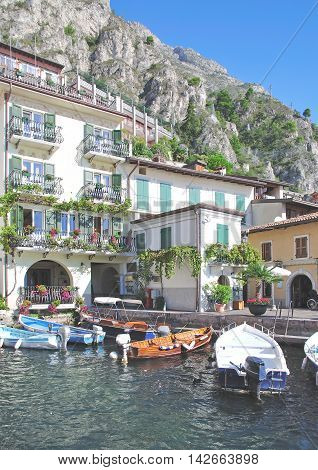 old Harbor in Limone sul Garda at Lake Garda,Italy