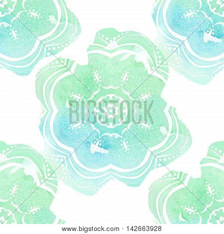 Hand drawn seamless pattern with blue mandalas on white and watercolor background