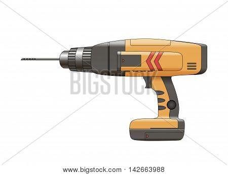 Drill isolated on white background. Construction tool