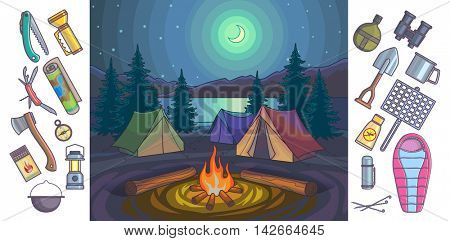 Night landscape with camp and mountain. Camping, outdoor recreation, adventures in nature. Background and hiking icons set.