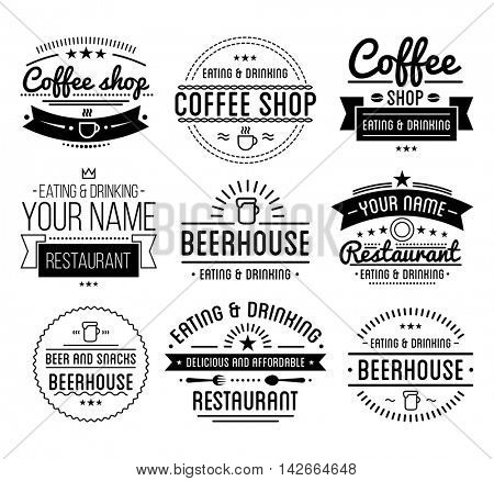 Black logo. Coffee shop template. Restaurant label. Beer house label. Graphic design element for business: cafe, bar, pub. Vector Illustration isolated on white background.