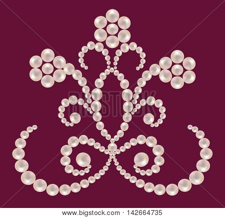 Floral ornament from pearls on a maroon background