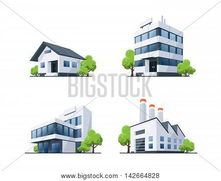 Set Of Four Types Buildings Illustration With Trees