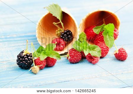 Waffles with fresh berry fruit. Food background