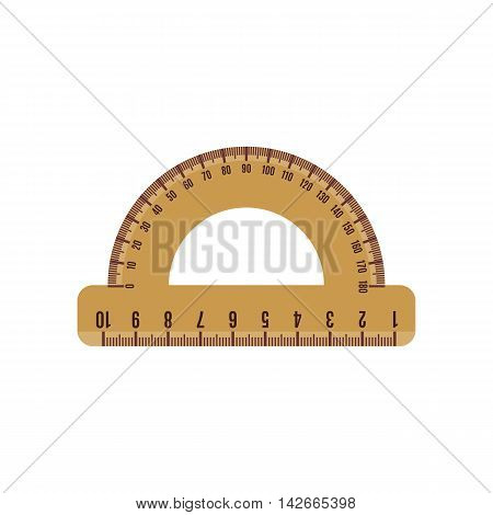 Protractor icon in flat style isolated on white background. Vector illustration.