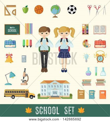 Set of school icons in flat style. Selection of various individual school supplies. Vector illustration