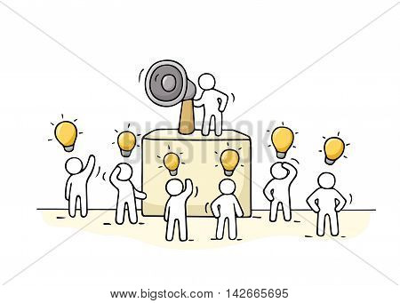 Sketch crowd of little people with lamp idea. Doodle cute miniature with leader on the tribune and megaphone. Hand drawn cartoon vector illustration for business design.