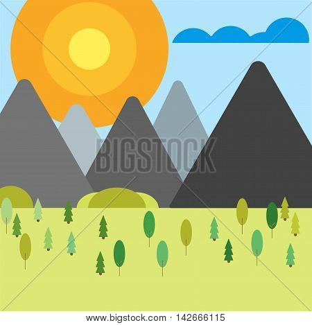 Layers of mountain landscape vector illustration. Travel outdoor nature blue sky cloud beautiful mountain landscape. Hiking view peak natural alps forest mountain landscape travel outdoor.