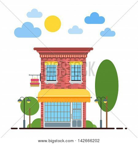 Candy shop flat design illustration of small business concept. Tasty candies shop cityscape row townhouse small town street building facade confectionery shop. Flat residential house