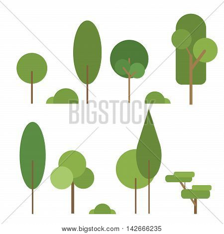 Set of abstract stylized trees. Natural trees illustration. Cartoon trees green nature and summer forest green trees collection. Trees leaf green plants and ecology forest oak trees eco branch.