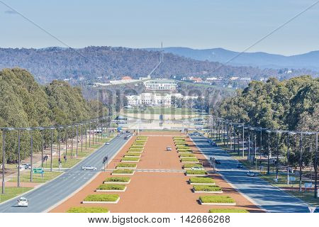 Sydney, Australia - June 29, 2016: View of Anzac Parade and Parliament House in Canberra, Australia