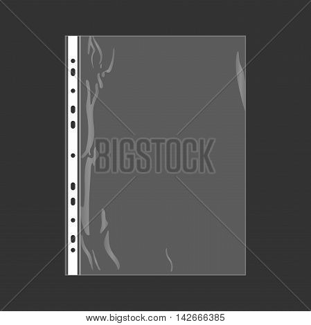 Punched pocket vector illustration. office equipment. File for paper.