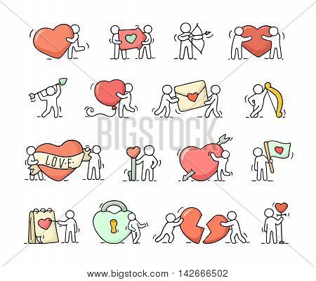 Cartoon romantic icons set of sketch working little people with love symbols. Doodle cute miniature scenes of workers with hearts arrows. Hand drawn vector illustration for valentine day design and wedding celebration.