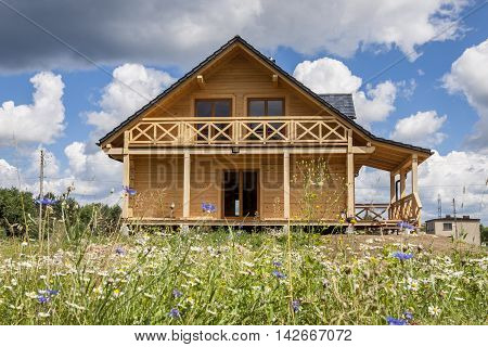 View on new Wooden house - Poland