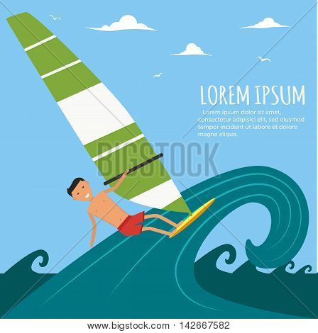 Male surfer riding on waves in the sea. A surfer catches a huge wave. Surfing character. Cute surfer. Vector illustration in flat. Summer vacation background
