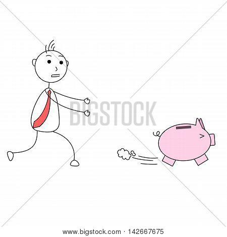 Piggy bank running away from a person
