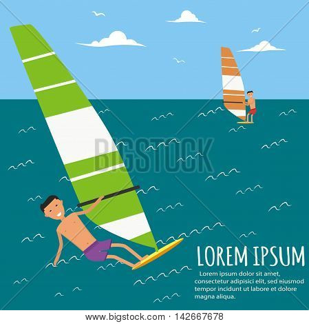 Male surfer riding on waves in the sea. Surfing characters. Cute surfer. Vector illustration in flat. Summer vacation background