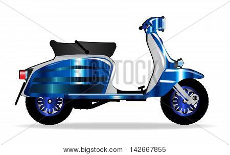 A typical 1960 style motor scooter over a white background