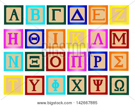 A collection of wooden block letters using the Greek alphabet