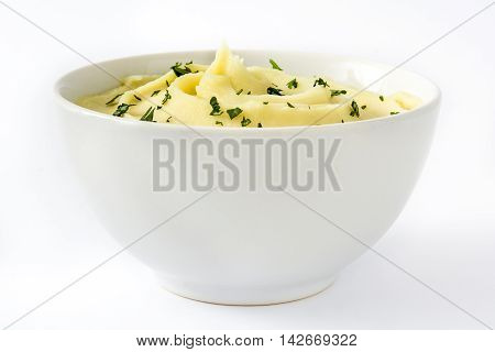 Mashed potato in bowl isolated on white background
