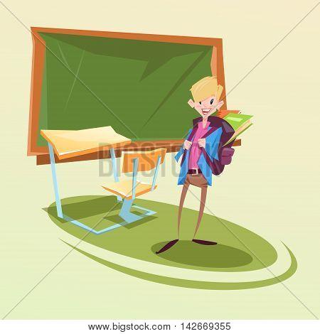 Schoolboy With Backpack In Classroom School Desk Flat Vector Illustration