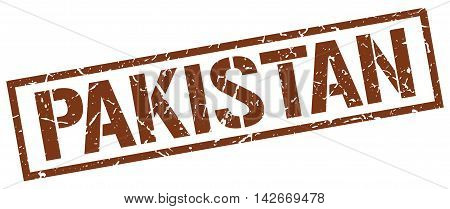 Pakistan stamp. brown grunge square isolated sign