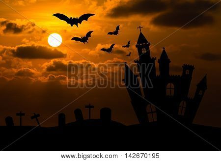 Castle Silhouette In Halloween Night