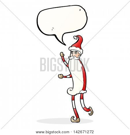 cartoon skinny santa with speech bubble