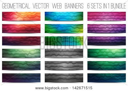 Bundle of abstract 3d vector polygonal waveform digital technology web banners for business, internet, advertising, ui, seo