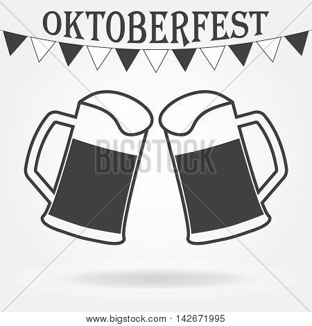 Octoberfest beer symbol. Two glasses or beer mugs isolated on white background. Cheers icon or sign. Vector illustration.