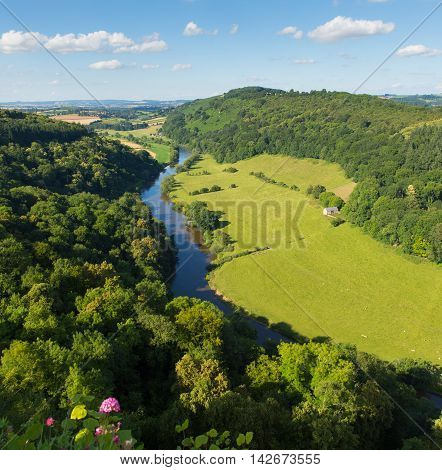 Stunning English countryside in the Wye Valley and River Wye between the counties of Herefordshire and Gloucestershire England UK from Yat Rock