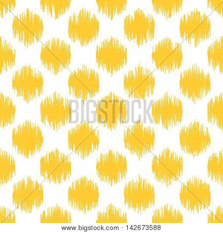 Seamless geometric pattern, based on ikat fabric style. Vector illustration. Yellow scribble spots on white background.
